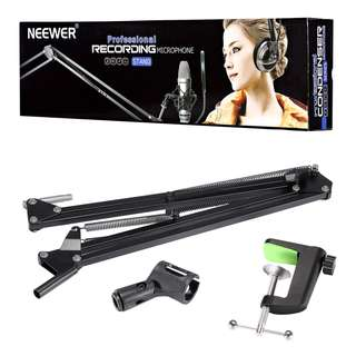 860. NEEWER Adjustable Microphone Suspension Boom Scissor Arm Stand, Compact Mic Stand Made of Durable Steel for Radio Broadcasting Studio, Voice-Over Sound Studio, Stages, and TV Station