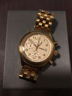 Fossil 香檳金手錶