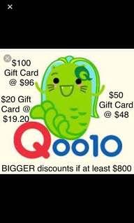 Qoo10 Gift Cards ($100, $50, $20) Q10