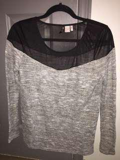 H&M long sleeve with mesh shoulder