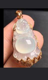 🍀18K Gold - Grade A 冰种 Icy Translucent White Wealth/Laughing Buddha 佛 Jadeite Jade Pendant🍍