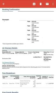 5 Plane tickets Davao to Siargao October 17