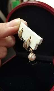 18k Gold Diamond Encrusted Pearl Dangling Earrings