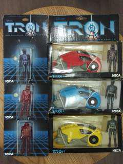 "NECA 2002 TRON 20th Anniversary Light Cycle set of 3 Sark Flynn Warriors & 3.5"" figures set of 3電子世界爭霸戰三吋半電單車"
