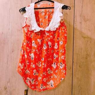 🚚 橘紅碎花無袖上衣