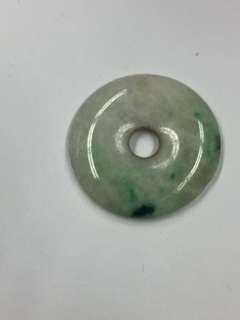 舊玉平安扣(白地小綠)