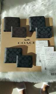 Brand New Coach Mens bifold wallet with extra card holder. Proof of gift receipt provided for the genuity of the item
