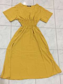 Retro Mustard 3/4 Dress