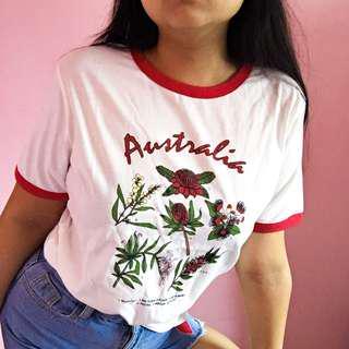 🚚 Austalia Floral Ringer Tee