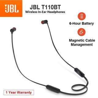 JBL T110BT Wireless Bluetooth In-Ear Headset Earpiece with Mic