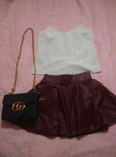 leather maroon skater skirt