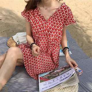 Patterned Babydoll Dress