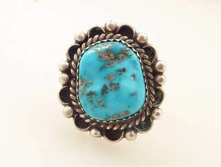 🚚 Vintage Genuine Deep Turquoise Artist Signed 925 Sterling Silver Ring
