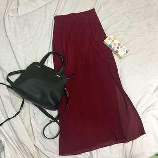 Pleated Maxi Skirt w/ Slit
