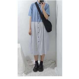 。error dot。日本雙夾淺藍拼接直條紋洋裝
