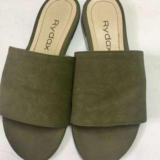 Olive green sandals/slip ons