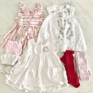 Bundle 7 pieces preloved baby girl clothes (0 to 6 months)