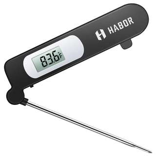 1277. Food Thermometer, Habor Meat Thermometer Kitchen Instant Read Thermometer with Digital LCD, Folding Long Probe for BBQ Grill Smokers Kitchen Chicken Cake Brewing Milk