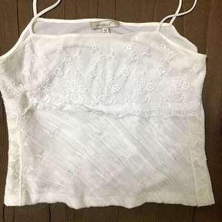 White lace crop top (straight neck cut)