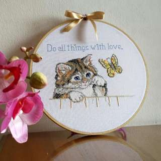 Cross stitch picture in bamboo hoop ready to hang