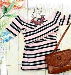 Off shoulder stripe pink tops