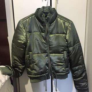Camo Green Puffer Bomber Jacket