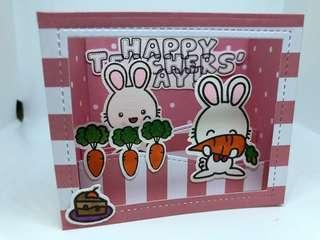 Bunny pink Teachers Day card