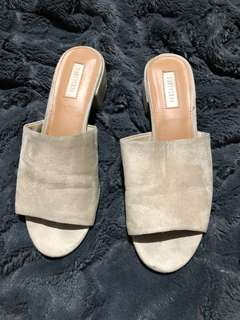 Forever 21 slip on mules in beige suede