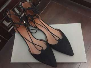 Pointed lace up flats low 0-55