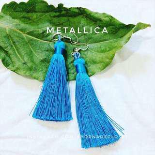 METALLIC BLUE - tassel earrings