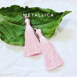METALLIC PINK - tassel earrings