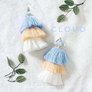 CLOUD - 3 tiered tassel earrings