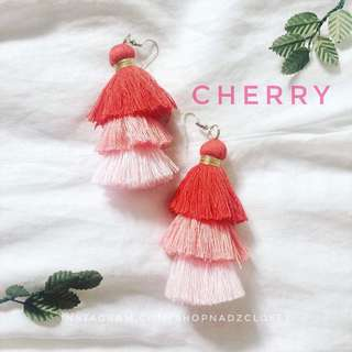 CHERRY - 3 tiered tassel earrings