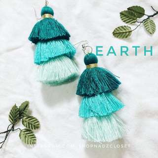 EARTH - 3 tiered tassel earrings