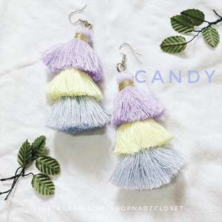 CANDY - 3 tiered tassel earrings