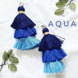 AQUA - 3 tiered tassel earrings