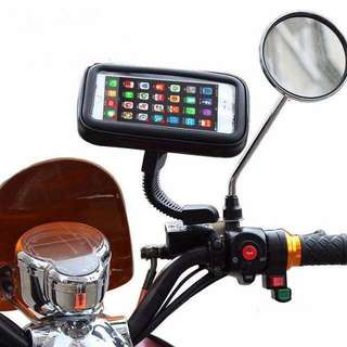 GPS/Mobile Holder For Motorcycles Rear View Mirror Mount + Waterproof Bag