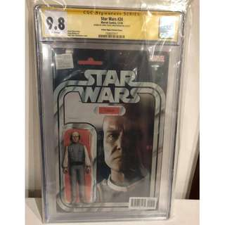 CGC SS 9.8 Star Wars #24 Lobot Action Figure Variant Signed by John Tyler Christopher
