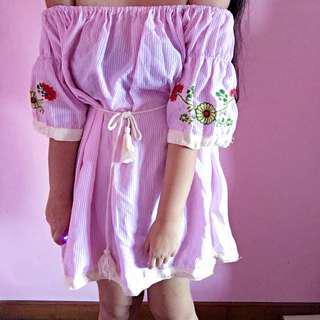 🚚 Pink Tassel Off Shoulder Dress