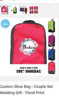 Customised Shoe bags / Toiletries Holder - Gift set for sports player - Gym essentials with names print and heart