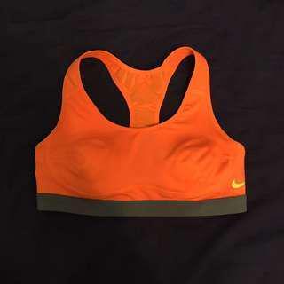 Nike 耐吉 運動背心 運動內衣 女生 橘色 螢光 胸墊 胸襯 全新