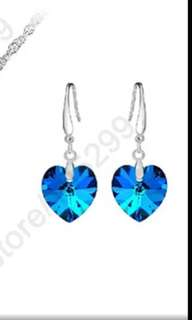 Blue Austrian Crystal Pure Genuine 925 Sterling Silver Ocean Sea Heart Earring Ear Thread