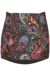 Topshop paisley print dip pelmet mini skirt