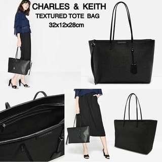 CHARLES & KEITH TEXTURED TOTE BAG