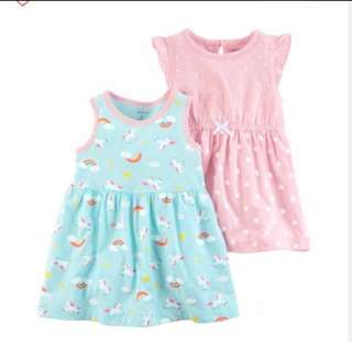 🚚 *9M* Brand New Carter's 2 Pack Jersey Dresses For Baby Girl