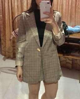 Korean Plaid Blazer + Skort ✨✨✨