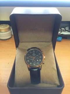 Tutis 鐵達時 黑金皮帶手錶