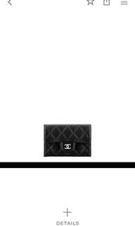 chanel銀色logo card holder