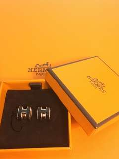 全新Hermes Pop H Earrings (black/rose gold)