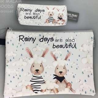 Instock Pencil Case Stationery Bag Raindrops Bunny Cute Character Organizer